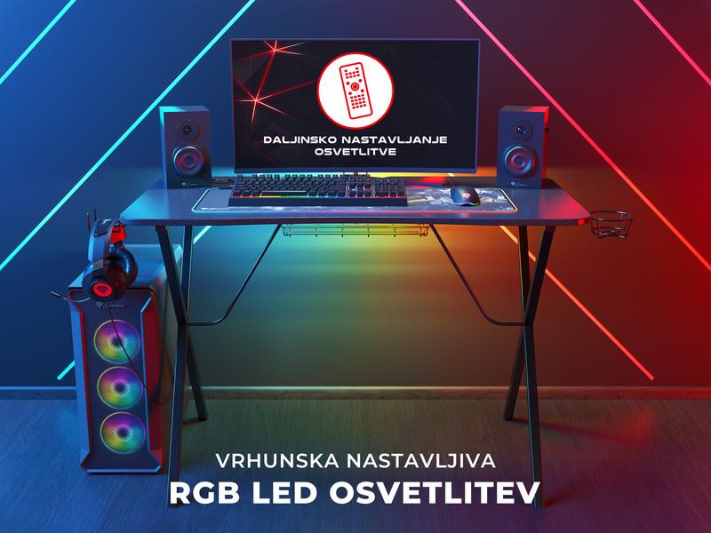 Kovinska konstrukcija in RGB osvetlitev