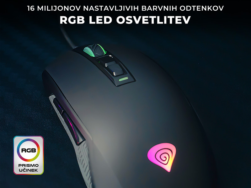Gaming miška z vrhunskim senzorjem in RGB osvetlitvijo